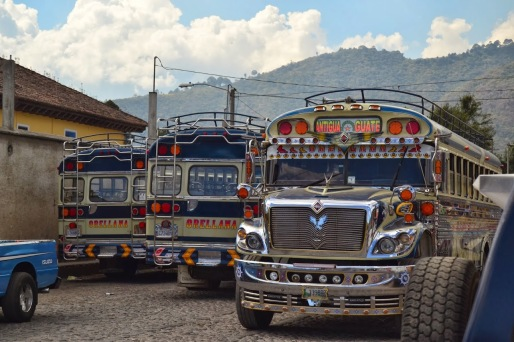 "The famous ""chicken buses"" of Guatemala"