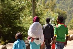 Families walking downhill